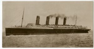 Postcard of the R.M.S Lusitania, ca 1915.