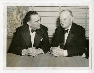 J. Edgar Hoover and Herbert Hoover at the wartime conference of Boys' Clubs of America dinner, 1944.