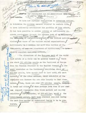The reading copy of the speech he gave at Cairo, Egypt in April, 1946, a gift to Mrs. Katharine Milbank.