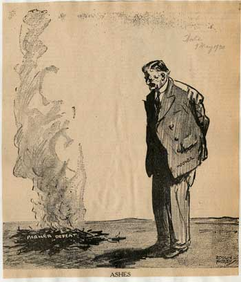 "The Senate's rejection of John J. Parker was a personal and political blow to President Hoover. As Hoover later remarked, ""This failure of my party to support me greatly lowered the prestige of my administration."" (Cartoon by Rollin Kirby, New York World, May 9, 1930)"