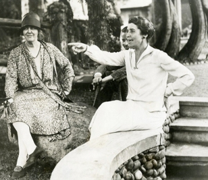 Lou Hoover with First Lady Grace Coolidge at the Cedar Lodge - the summer camp of President Coolidge.