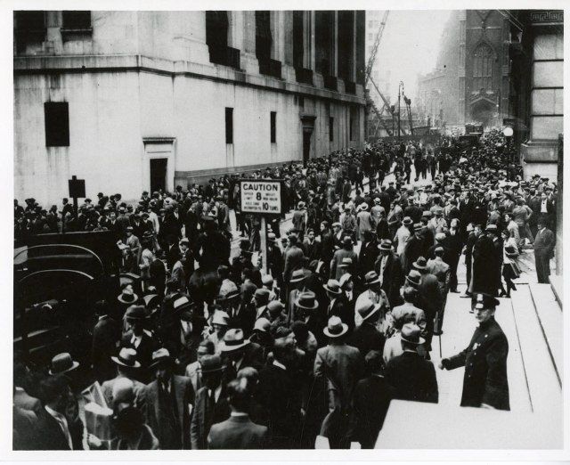 Wall Street, NY NY near the time of the stock market crash. ca. 1929.